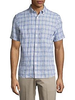 Checkered Linen Button-Down Shirt SMOKE BLUE. Product image
