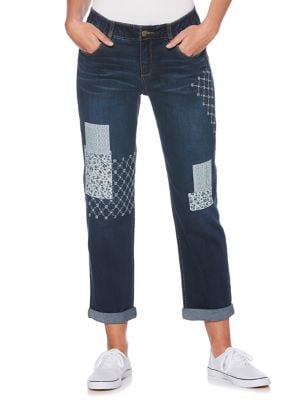 Petite Floral-Patched Jeans 500087968143