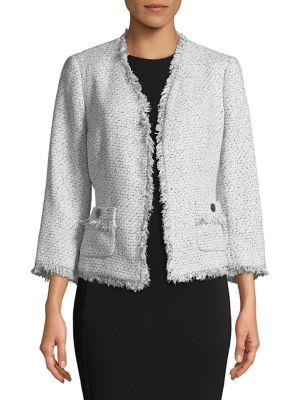 Tweed Fringe Trim Jacket...