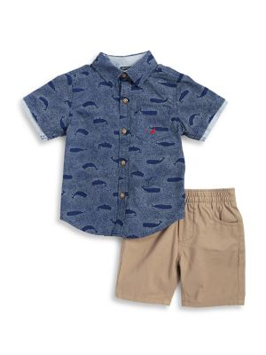 Little Boy's Cotton Whale-Print Collared Shirt and Shorts Set 500087970320