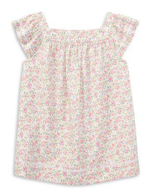 Girl's Floral Flutter-Sleeve...