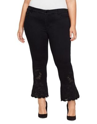 Plus Flared Cropped Jeans 500087974666