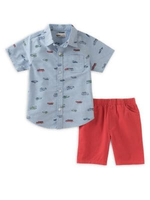 Little Boy's Two-Piece Cotton Collared Shirt and Twill Shorts Set 500087975117