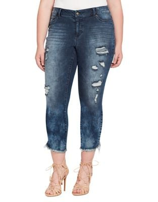 Plus Kiss Me Distressed Ankle Jeans 500087979384