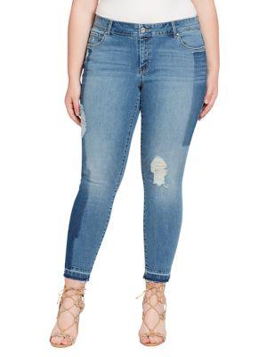 Plus Floral Rolled Hem Jeans 500087979536