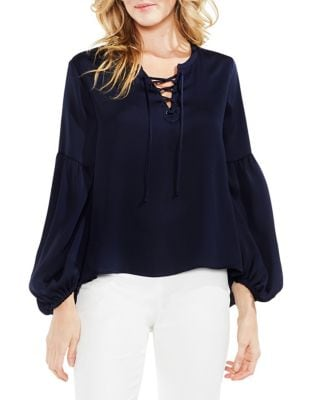 Lace-Up Bubble-Sleeve Hammer Satin Blouse 500087980030