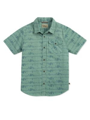 Boy's Motorcycle Printed Cotton Collared Shirt 500087980418
