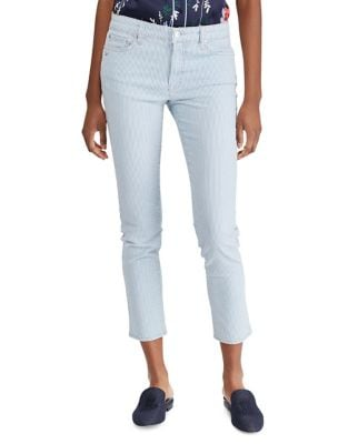 Striped Cropped High-Rise Jeans 500087981886