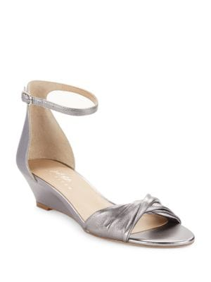 Chandra Metallic Leather Wedge Sandals by 424 Fifth