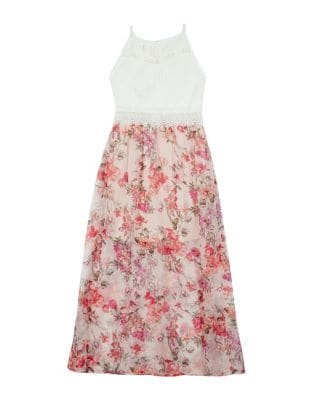 Girl's Lace Floral-Print...