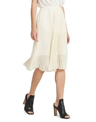 Pleated Midi Skirt @...
