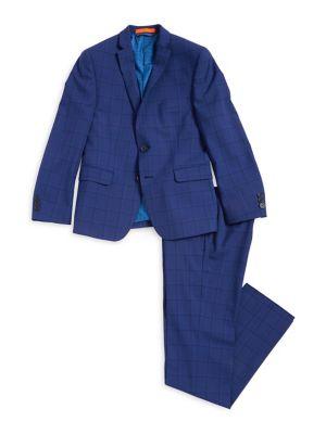 Boys TwoPiece Plaid Suit Jacket and Pants Set