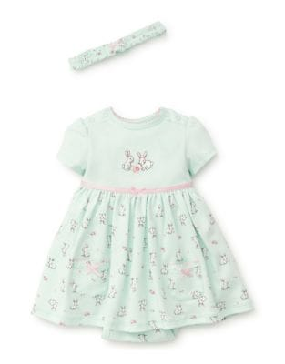 Baby Girl's Three-Piece Bunny Cotton Headband, Dress and Bloomer Set 500087998133