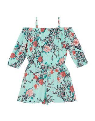 Girl's Floral Off-The-Shoulder...