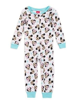 Little Girls Minnie and Mickey Coverall Pajamas