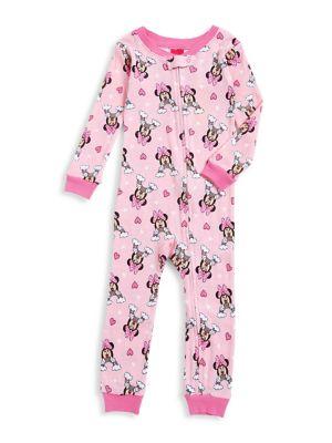 Little Girls Rainbow Minnie Cotton Coverall Pajamas