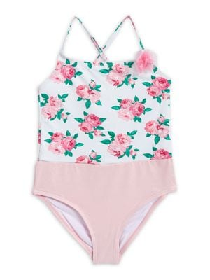 Girl's One-Piece Floral-Print...