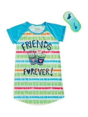 Girls TwoPiece Friends Forever Sleepshirt and Eye Mask Set