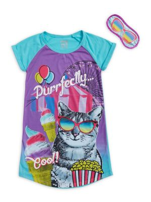 Girls TwoPiece Boardwalk Cat Sleepshirt and Eye Mask Set