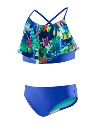 Girl's Two-Piece Tropical...
