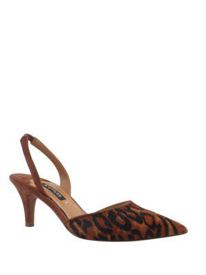 Baylee Leopard-Print Calf Hair Sling-Backs by Kay Unger