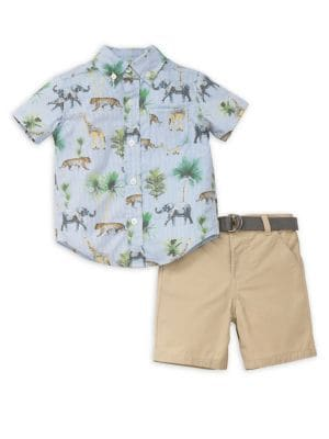 Baby Boy's Two-Piece Safari Collared Shirt and Shorts Set 500088026512