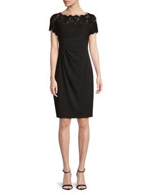 Cynthia Lace-Yoke Sheath Dress 500088029272