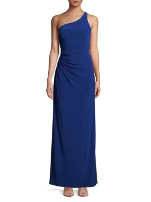 Draped One-Shoulder Gown 500088029588