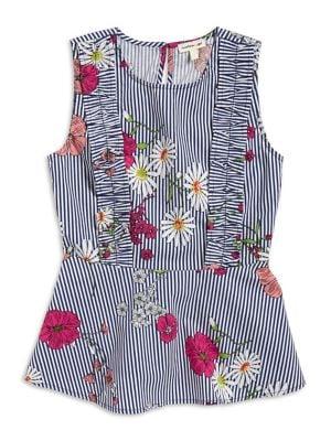 Girl's Floral Stripe...