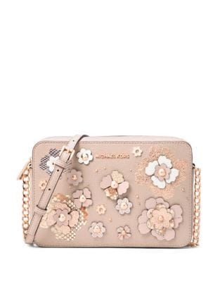 Large Floral Embossed Leather Crossbody Bag 500088031702