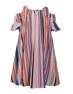 Girl's Striped Cold-Shoulder Float Dress 500088033813