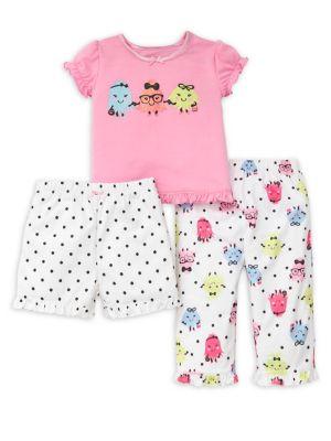 Baby Girls ThreePiece Monster Pajama Set