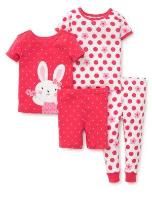Baby Girls FourPiece Bunny Pajama Set