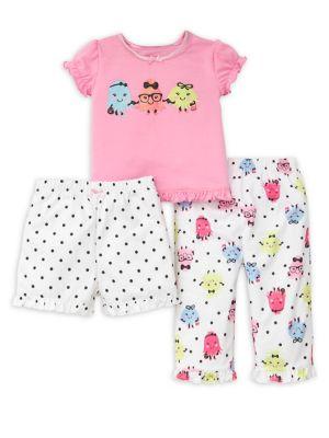 Little Girls Furry Friends ThreePiece Pajama Set