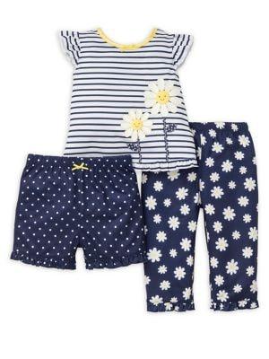 Baby Girls ThreePiece Daisy Pajama Set