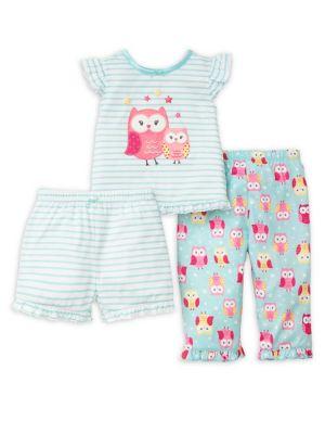 Little Girls ThreePiece Owl Pajama Set