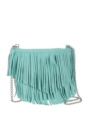 Girls Fringed Chain Faux Suede Crossbody Bag