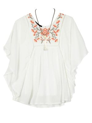 Girl's Embroidered Poncho...
