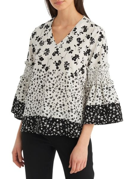Floral Jacquard Poet Sleeve Blouse by Karl Lagerfeld Paris