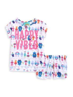 Little Girls and Girls Sparkle Trolls Pajamas TwoPiece Set