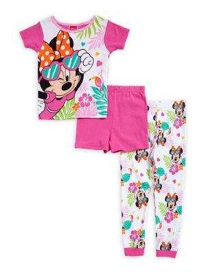 Little Girls Tropical Minnie Three Piece Pajama Set