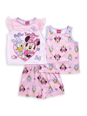 Little Girls Three Piece Printed Pajama Set