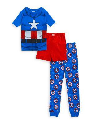 Little Boys  Boys Captain America ThreePiece Pajama Set