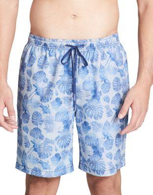 Leaf-Print Swim Shorts...