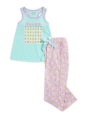 Girls Emoji TwoPiece Pajama Set