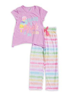 Girls Tie Dye Striped TwoPiece Pajama Set