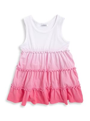 Little Girls PomPom Trimmed Ombre Tunic