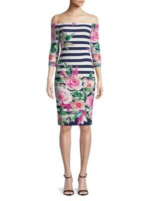 Floral and Stripe Off-The-Shoulder Dress 500088075720