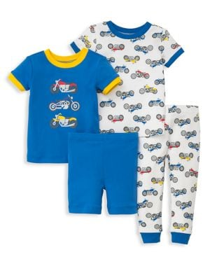 Little Boy's Four-Piece Motorcycle-Print Tee, Shorts and Pants Pajama Set 500088078437