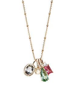 Boca Crystal Pendant Necklace GOLD. Product image